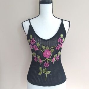 Beaded Rose Embroidered Tank